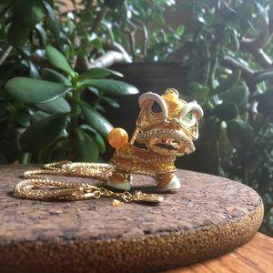 Lucky Gold Dragon Rhinestone Necklace